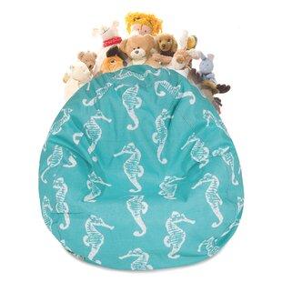 Sea Horse Stuffed Animal Toy Storage Bean Bag Chair ByHarriet Bee