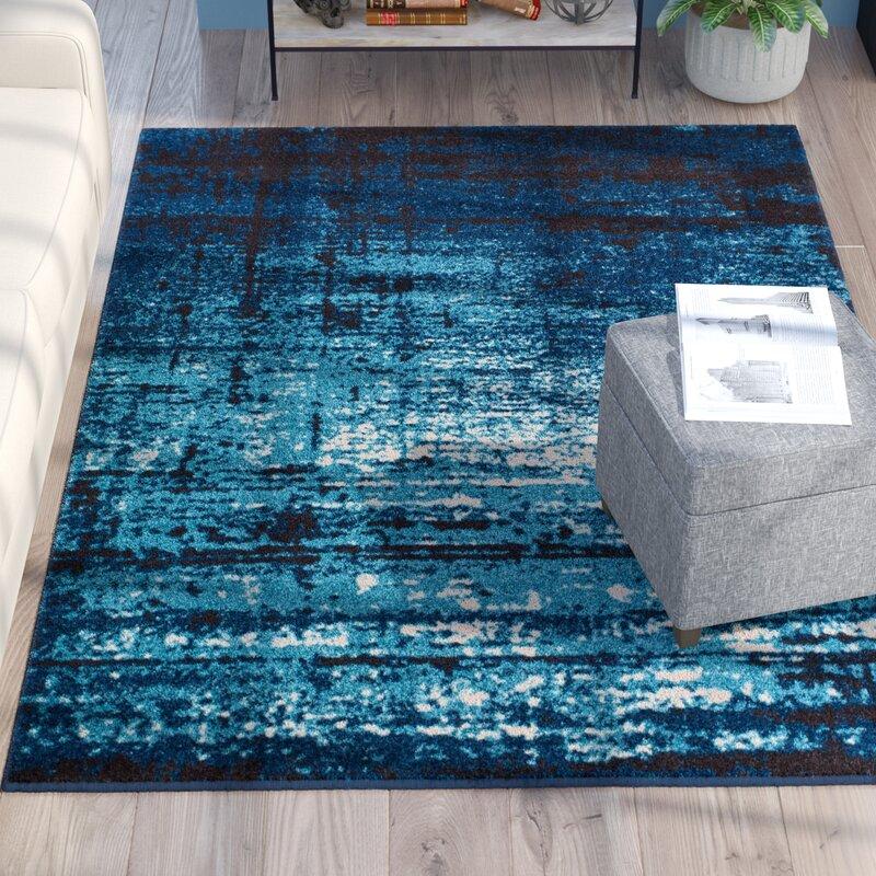 Trent Austin Design Coolidge Modern Distressed Navy Blue