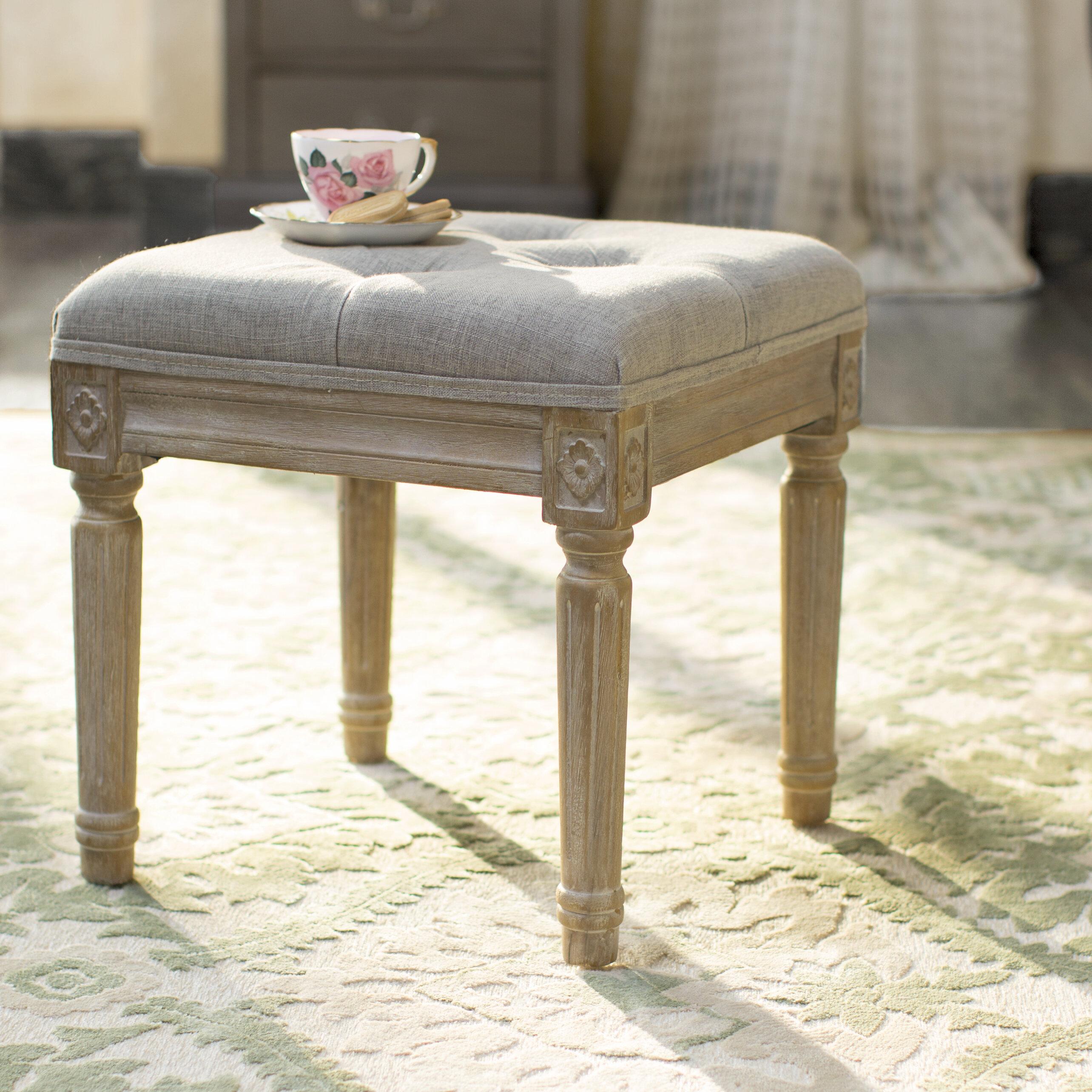 Three Posts Dahlonega Solid Wood Vanity Stool Reviews Wayfair