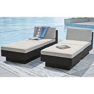 dCOR design 4 Piece Park Terrace Chaise Lounge with Cushion Set