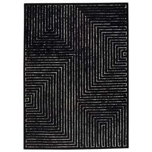 Reviews Maze Hand-Knotted Black/White Area Rug By Hokku Designs
