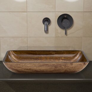 Best Price Amber Sunset Tempered Glass Rectangular Vessel Bathroom Sink with Faucet By VIGO