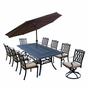 Oakland Living Morocco Aluminum 9 Piece Dining Set with Cushions and Umbrella