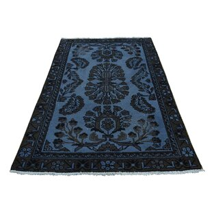 One-of-a-Kind Overdyed Lilahan Vintage Pure Hand-Knotted 3'4 x 6' Wool Blue/Black Area Rug 1800GETARUG