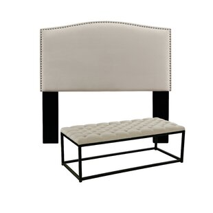 Darby Home Co Almodovar Upholstered Panel Headboard and Tufted Bench
