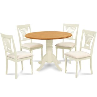 Forthill 5 Piece Drop Leaf Solid Wood Dining Set by Alcott Hill
