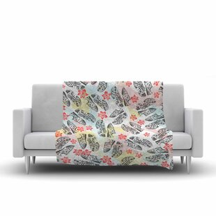 Check Prices Mmartabc Sports Shoes Floral Multicolor Illustration Fleece Blanket By East Urban Home