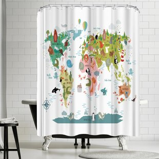 Nauda Animals World Map Shower Curtain