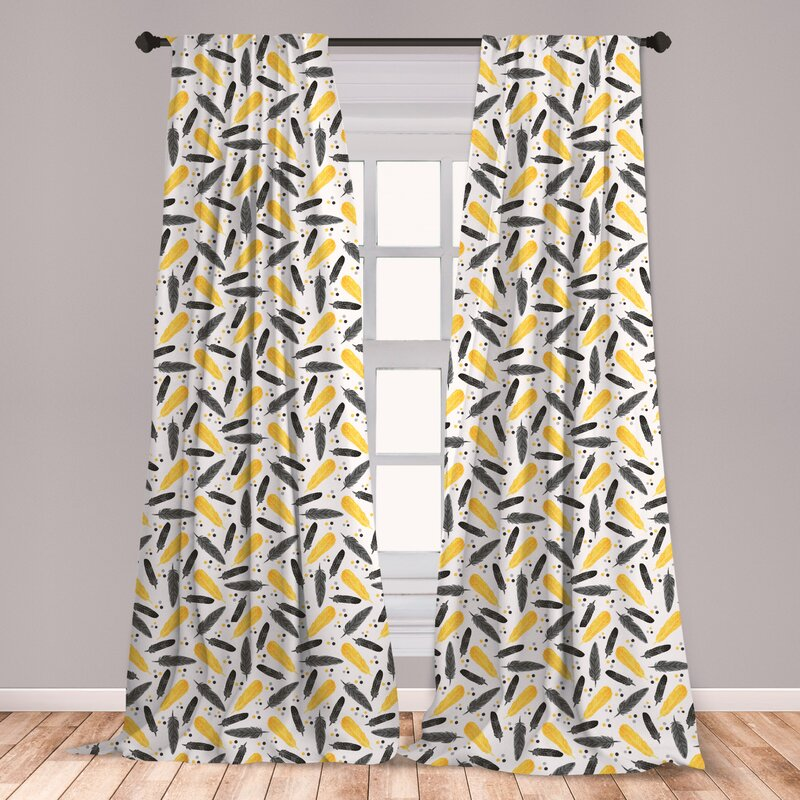 East Urban Home Alcanza Feather 2 Panel Curtain Set Bohemian Exotic Plumage With Watercolor Spots Pastel Print Lightweight Window Treatment Living Room Bedroom Decor 56 X 63 Grey Yellow Wayfair