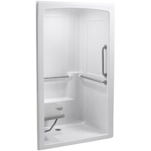 Kohler Freewill Barrier-Free Shower Module with Brushed Stainless Steel Grab Bars and Seat At Left