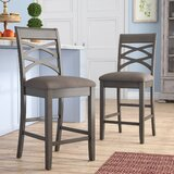 Jeanine Wood Double Cross Back 24 Bar Stool (Set of 2) by Gracie Oaks
