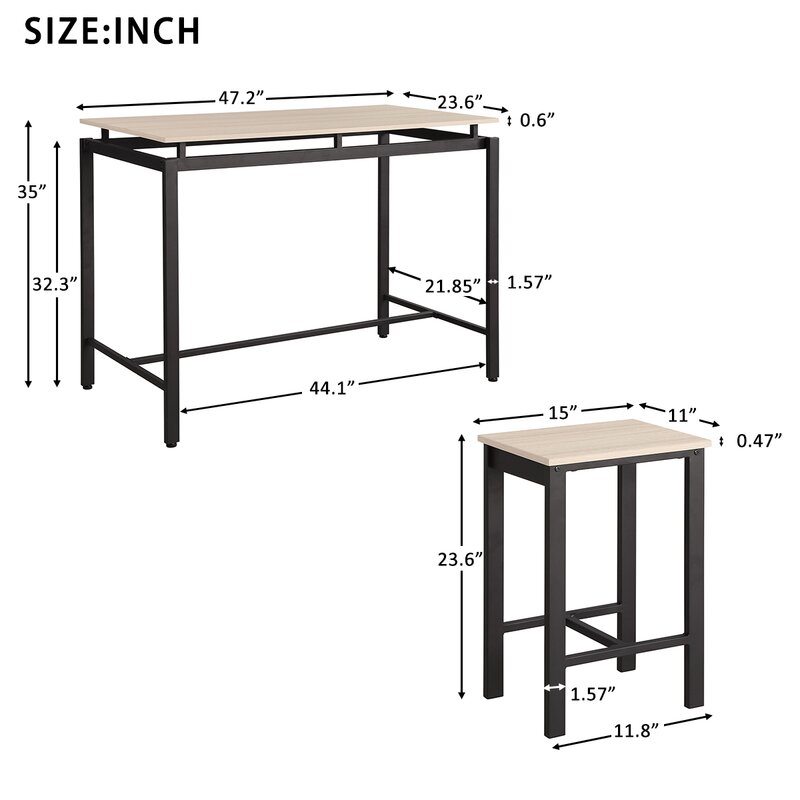 17 Stories Turek 5 - Piece Counter Height Breakfast Nook Table Set
