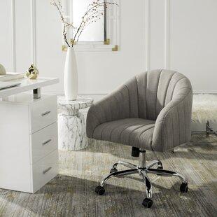 Wade Logan Balcom Linen Swivel Mid-Back Desk Chairvelvet in Gray