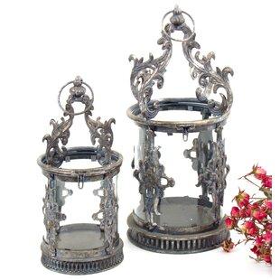 2 Piece Iron and Glass Lantern by Astoria Grand