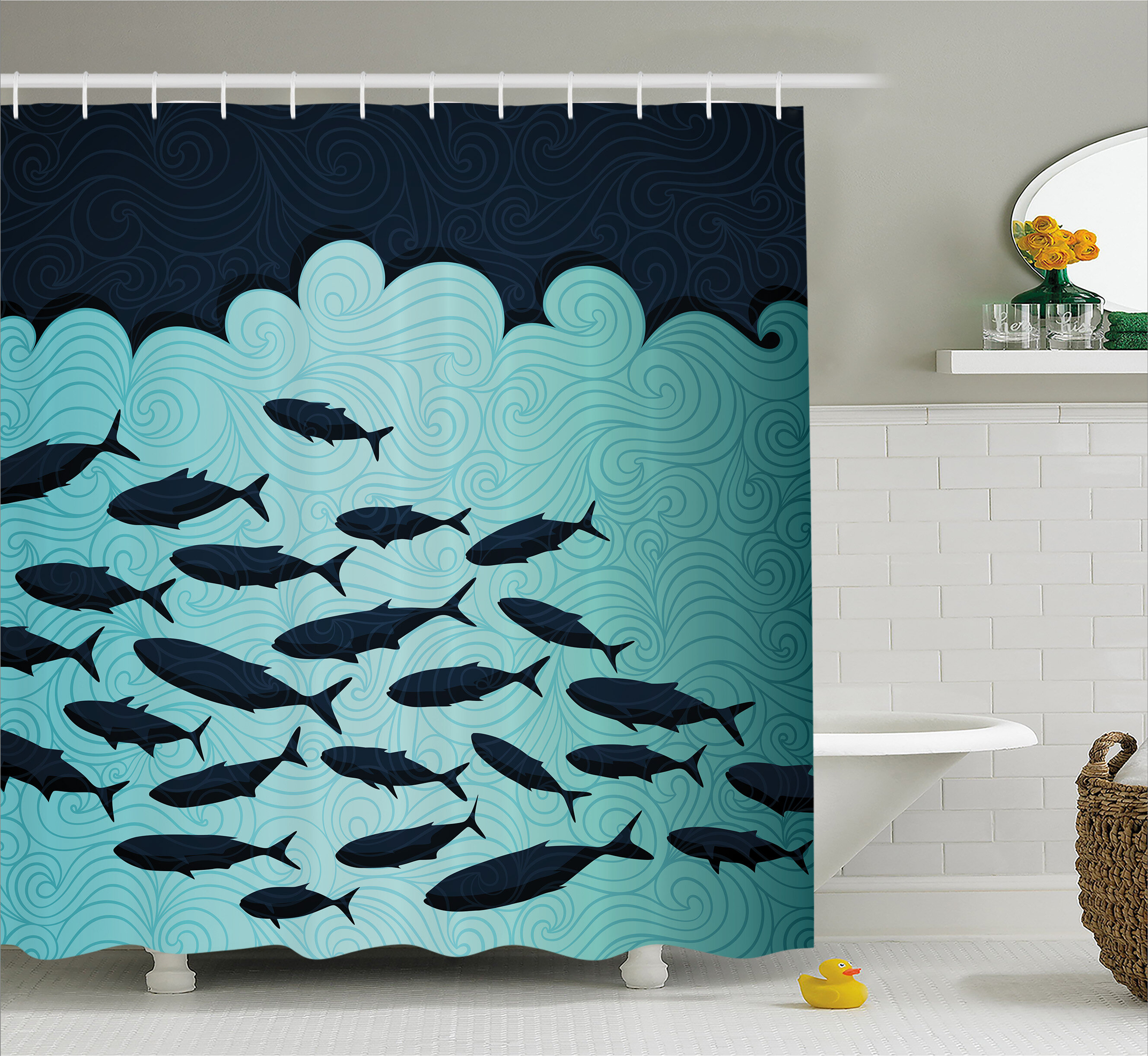 East urban home fish dive nautical decor shower curtain for Diving and fishing mural