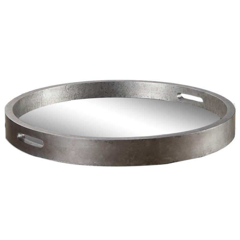 Plateau rond en métal argenté