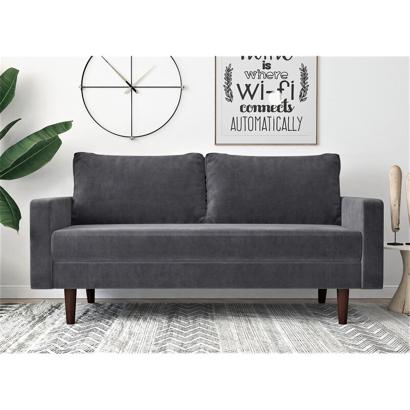 Corrigan Studio Rieger Velvet 71 6 Wide Square Arms Sofa Reviews Wayfair