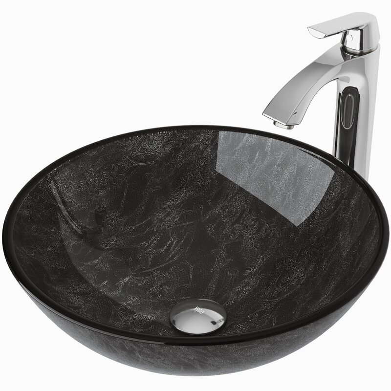 Bathroom Sink Without Faucet Hotis 16.5 X16.5 Vanity Round Tempered Glass Vessel Sink