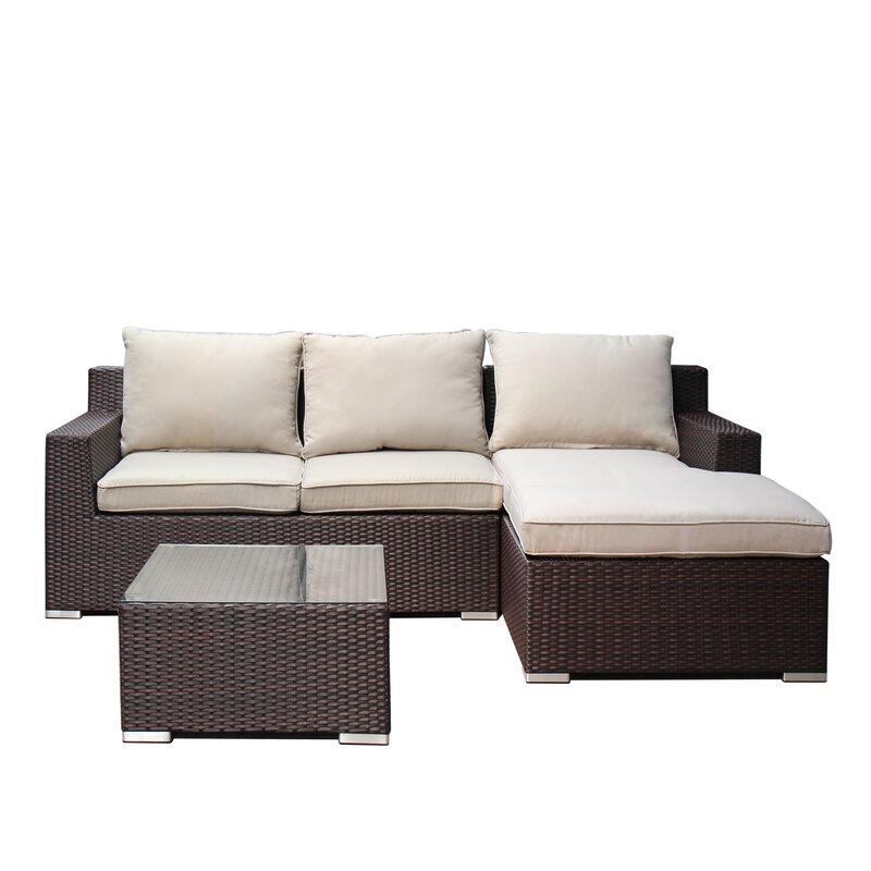 Hegg 3 Piece Sofa Set with Cushions