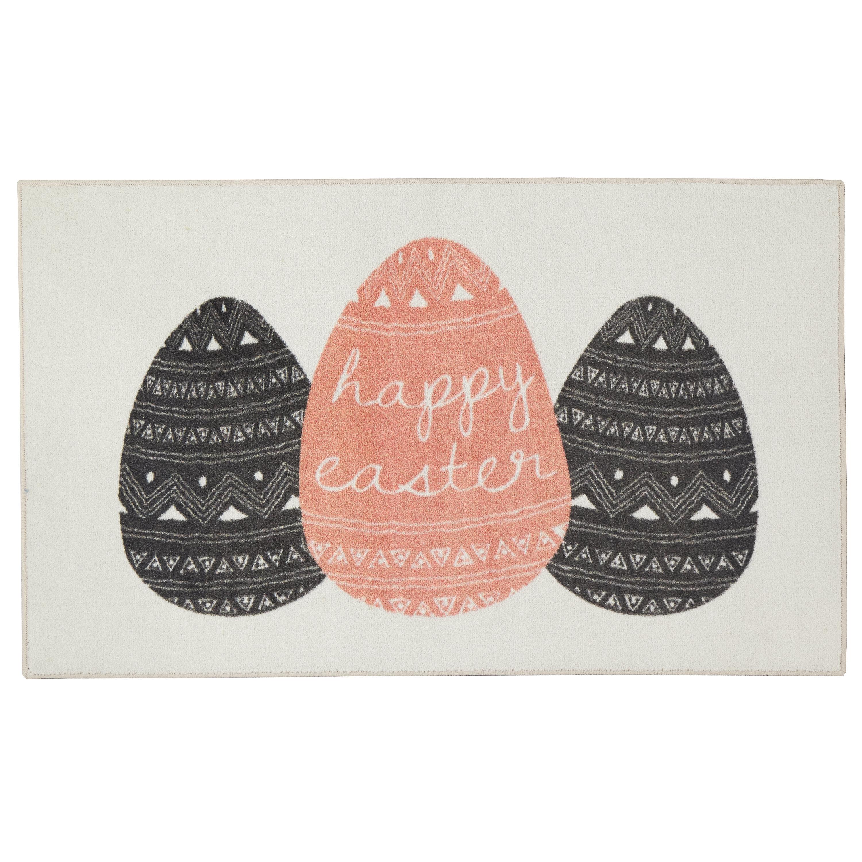 The Holiday Aisle Segars Easter Eggs Cream Coral Charcoal Area Rug Wayfair