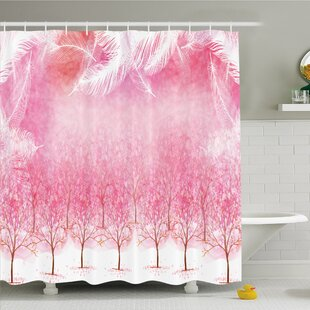 Hazy Japanese Cherry Blossom Trees Shower Curtain Set