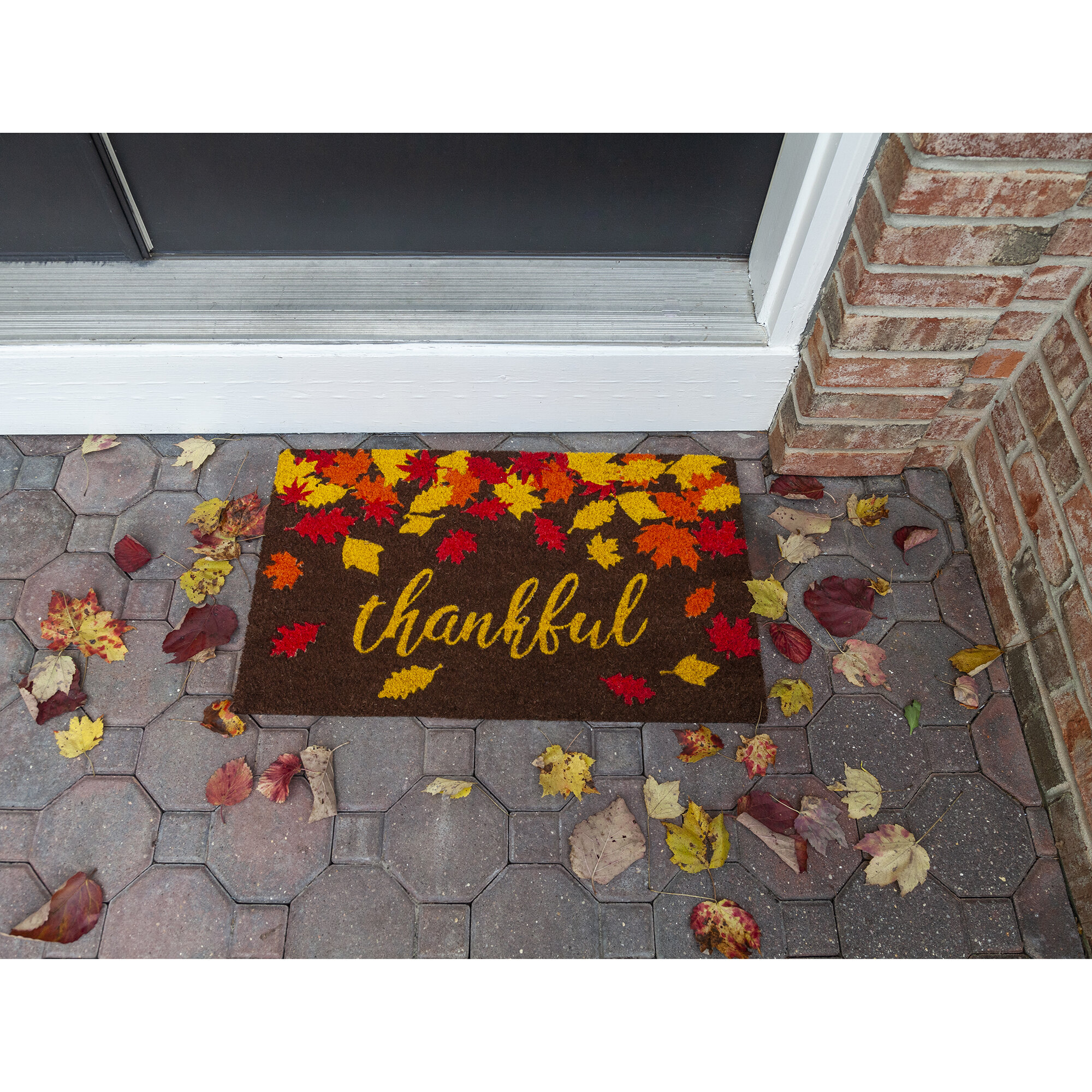 The Holiday Aisle Stowers Thankful Coir 28 In X 17 In Outdoor Door Mat Wayfair
