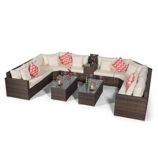 Villasenor Brown Rattan U Shape 8 Seat Sofa With 2 X Rectangular Coffee Table & Drinks Cooler, Outdoor Patio Garden Furniture Image