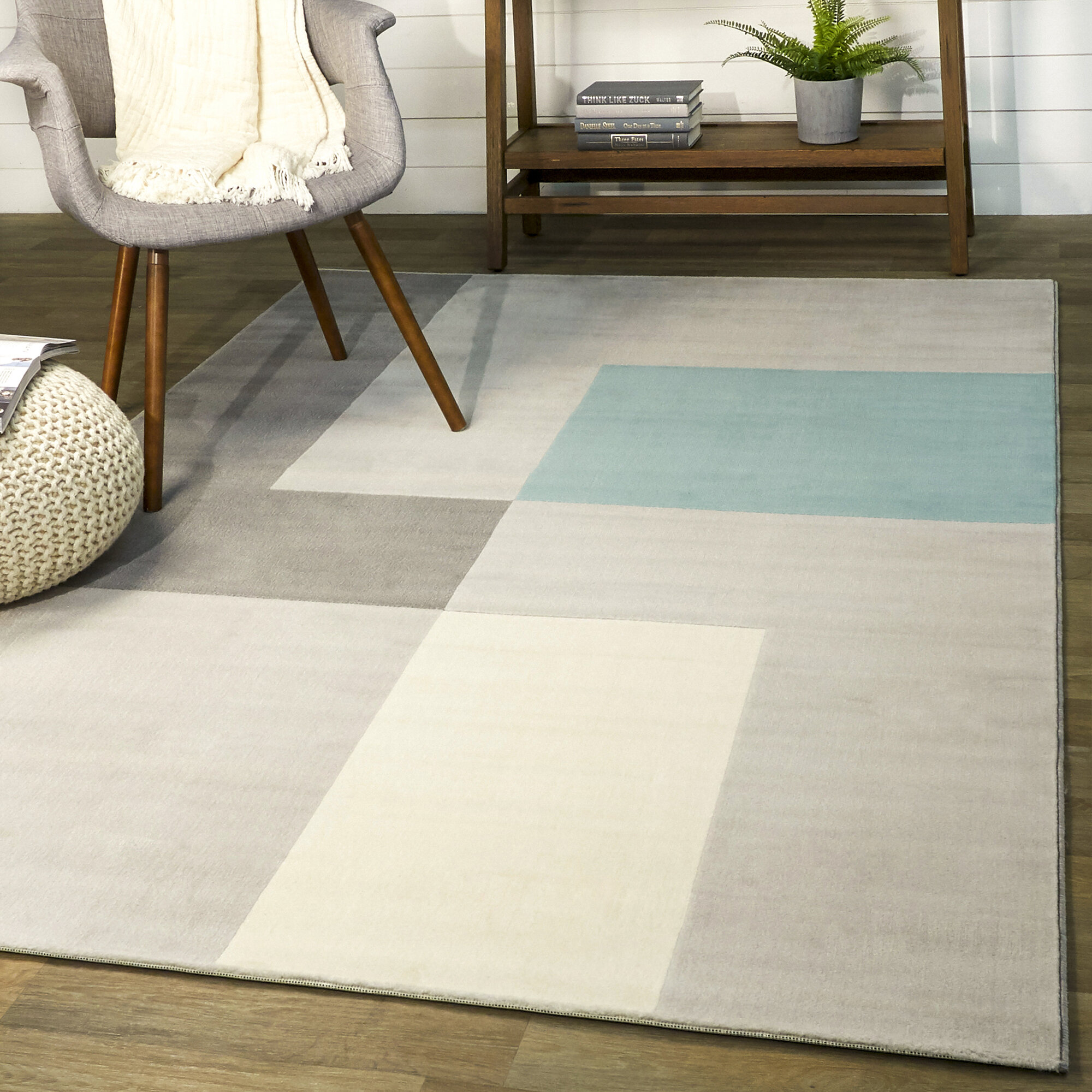Wrought Studio Anacortes Geometric Gray Area Rug Wayfair