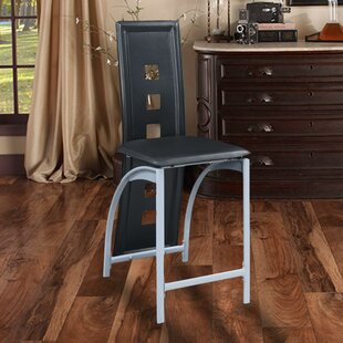 Shofner Eyelet Design Metal and Faux Leather 24 Bar Stool (Set of 2) by Orren Ellis