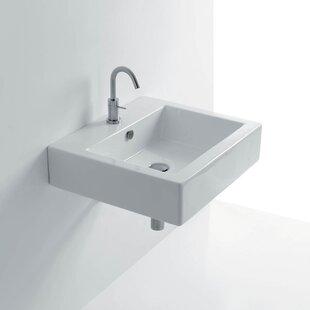 WS Bath Collections Quad Ceramic Ceramic Rectangular Vessel Bathroom Sink with Overflow