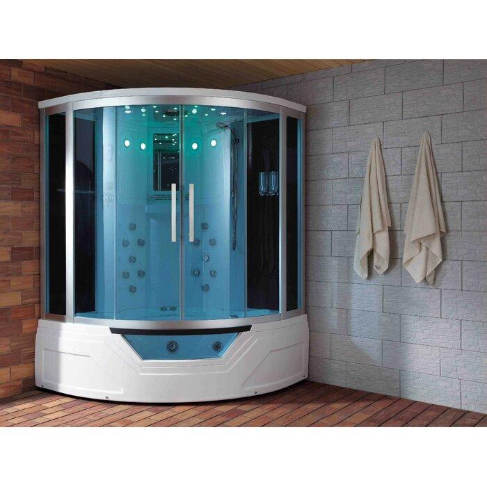 Eagle Bath Steam Shower.Eagle Bath 59 X 87 Round Sliding Steam Shower With Base Included