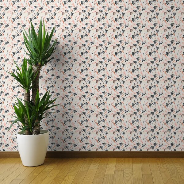 Removable Water-Activated Wallpaper Bohemian Paisley Floral Boho Roses Peony