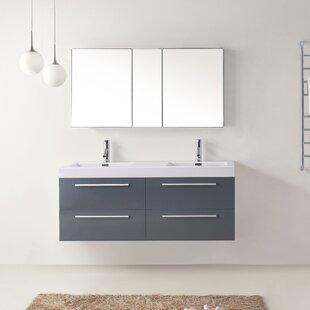 """Cartagena 54"""" Double Bathroom Vanity Set with White Top"""