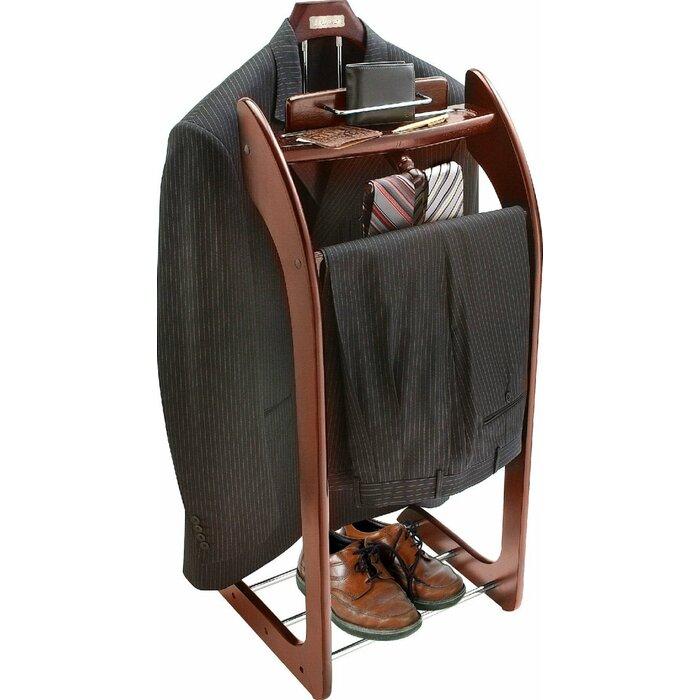 Mahogany Hardwood Wardrobe Clothes Valet Stand And Orginaizer