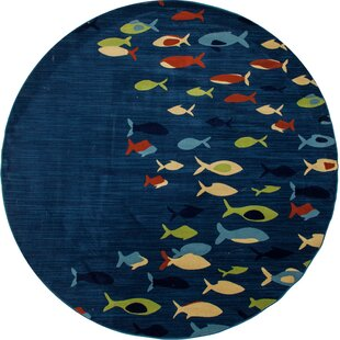 Ceasar Fish School Navy Indoor/Outdoor Area Rug