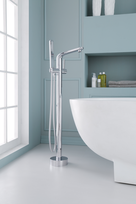 Ariel Bath Single Handle Floor Mounted Freestanding Tub Filler with ...