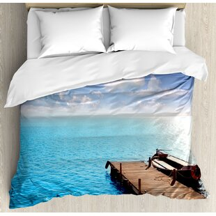 East Urban Home Wooden Deck on Charm Lake Holiday Europe Coast Tranquil Sea View Duvet Set