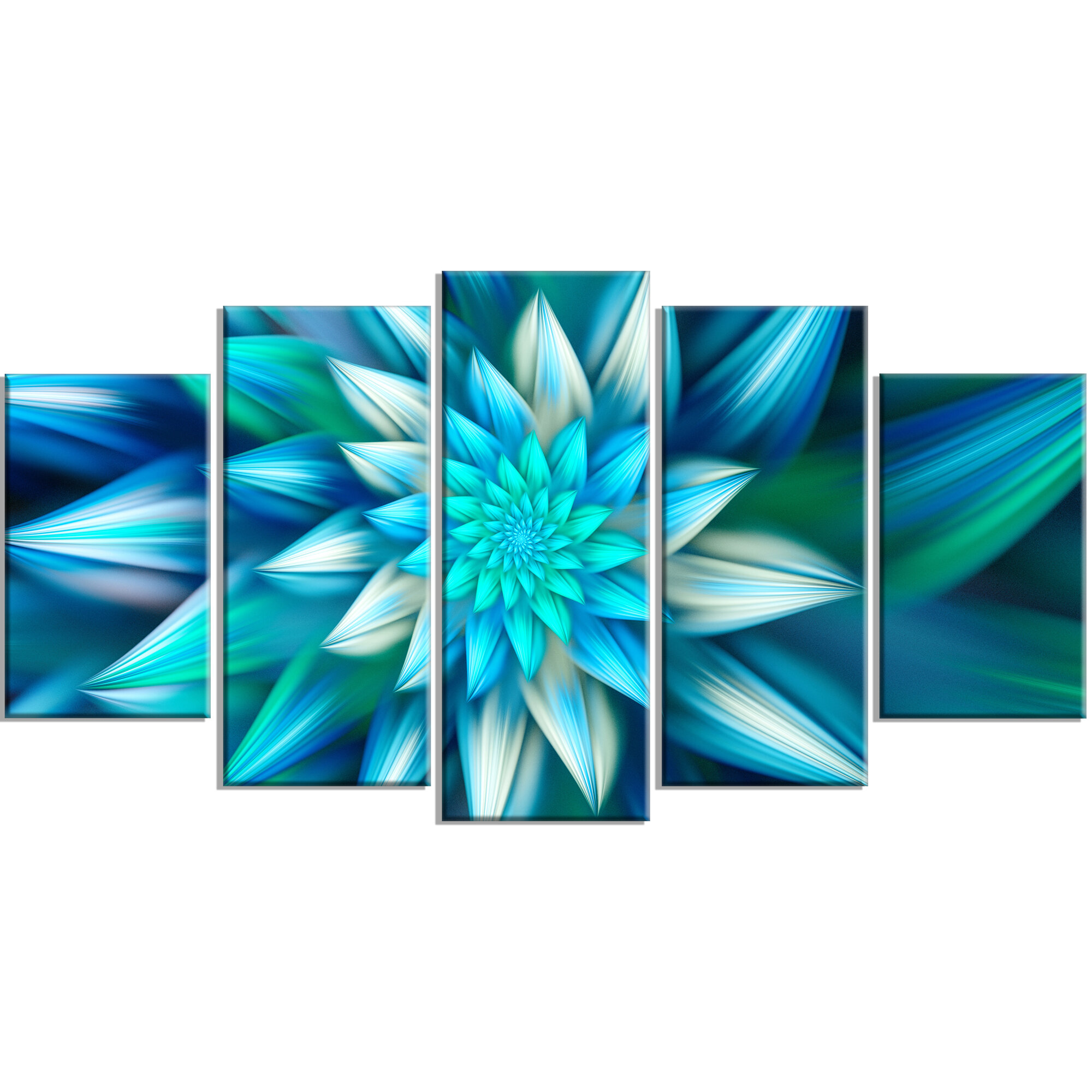 Designart Huge Blue Fractal Flower Graphic Art Print Multi Piece Image On Canvas Wayfair