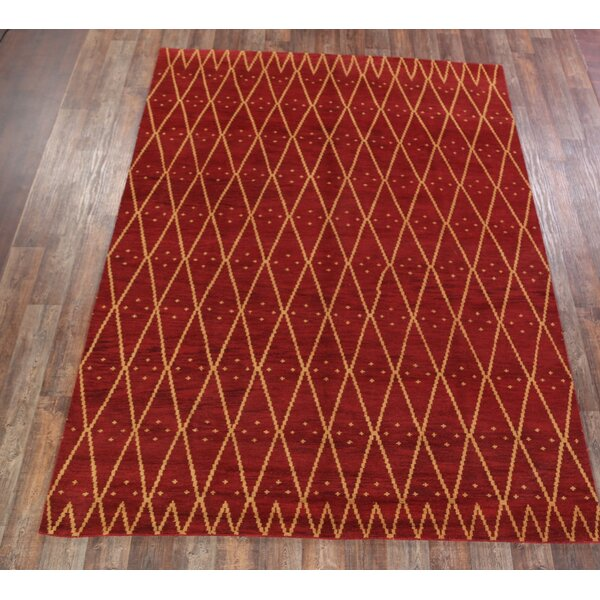 Wrought Studio Livia Traditional Moroccan Trellis Oriental Hand Knotted Wool Red Burgundy Area Rug Wayfair