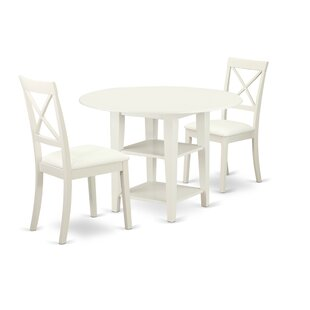 Tyshawn 3 Piece Drop Leaf Solid Wood Dining Set by Charlton Home