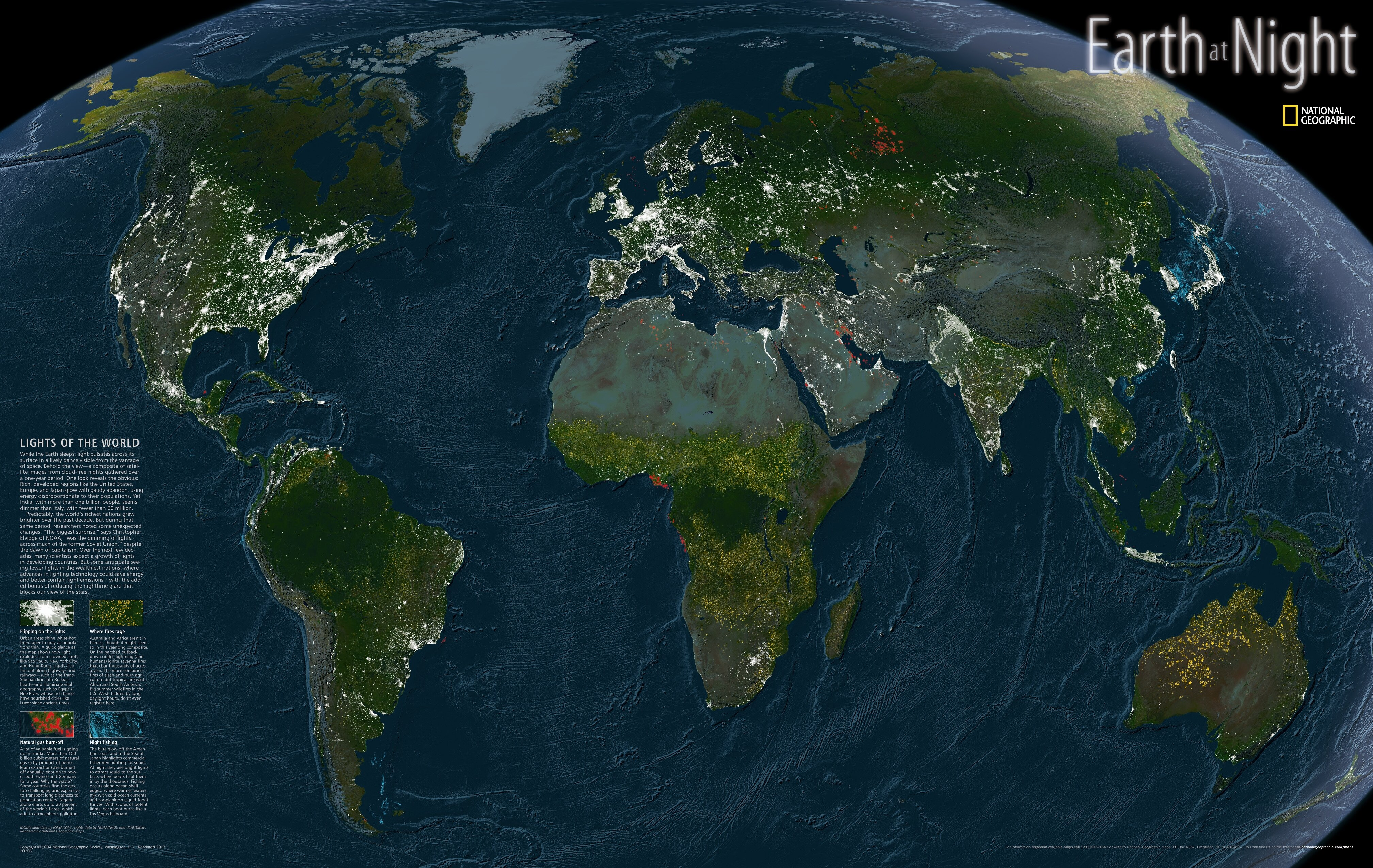 National geographic maps earth at night map wayfair publicscrutiny Gallery