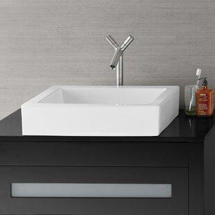 Ronbow Format Ceramic Rectangular Vessel Bathroom Sink