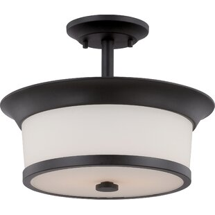 Reviews Woodbridge 2-Light Semi Flush Mount By Latitude Run