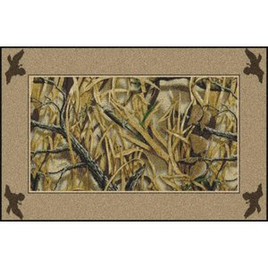 Realtree Wetlands Solid Border Green Area Rug