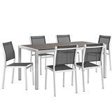 Coline Outdoor Patio Aluminum 7 Piece Dining Set