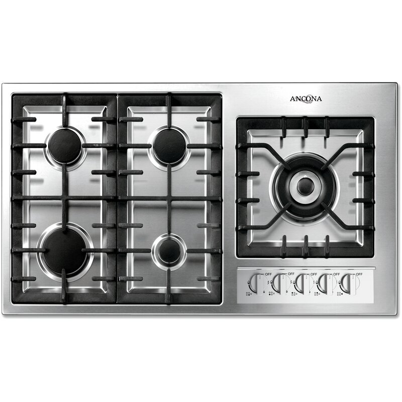 """Ancona  36"""" Gas Cooktop with 5 Burners and Wok Pan Support"""