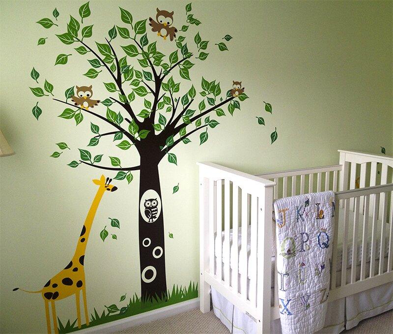 Merveilleux Big Tree With Giraffe Wall Decal
