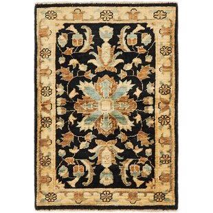 Check Prices One-of-a-Kind Huntingdon Hand-Knotted  2' x 3' Wool Black/Beige Area Rug By Isabelline