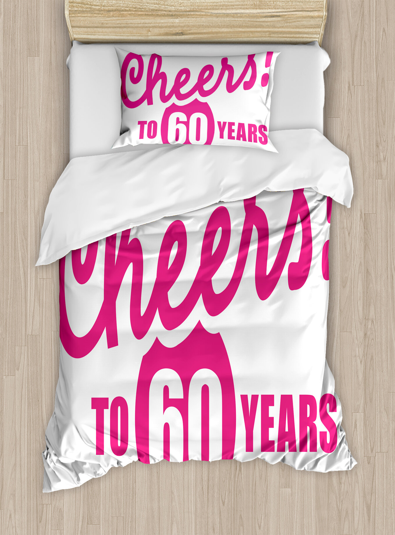 Ambesonne 60th Birthday Decorations Drinking Party Theme With Happy Cheers Quote Art Print Duvet Cover Set