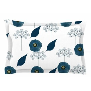 Li Zamperini 'Blue Collection - Lili' Floral Watercolor Sham by East Urban Home Best Choices
